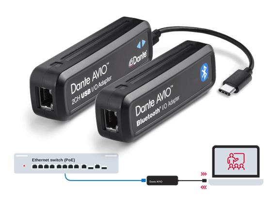 Adapter Audio Dante AVIO USB-C dan AVIO Bluetooth