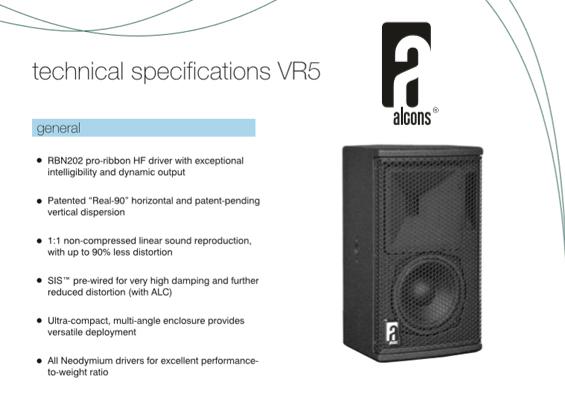 Speaker Sound System Alcons Audio VR5