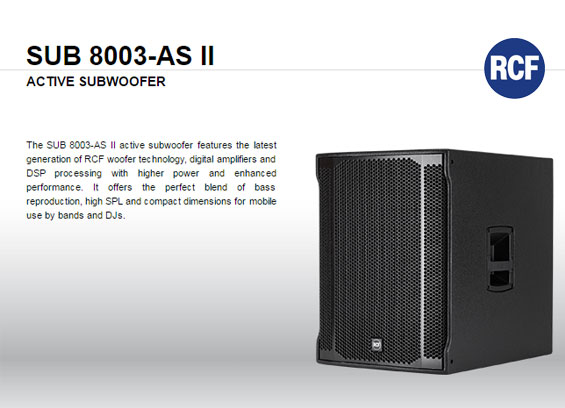 Speaker Subwoofer Aktif RCF 8003-AS II dan RCF 905-AS II