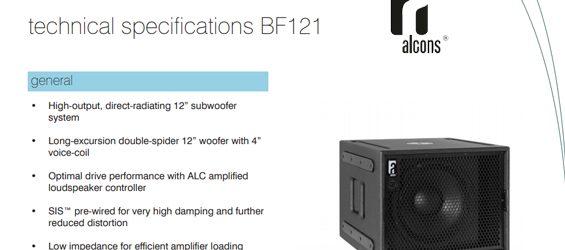 Speaker Subwoofer Alcons Audio BF121