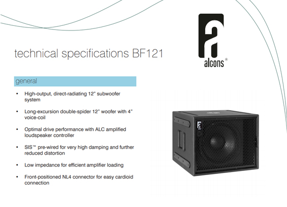 Speaker Subwoofer Alcons Audio BF121
