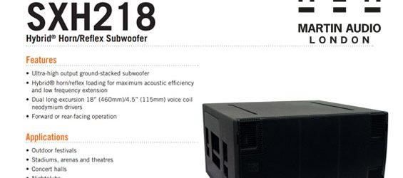 Speaker Subwoofer Martin Audio SXH218