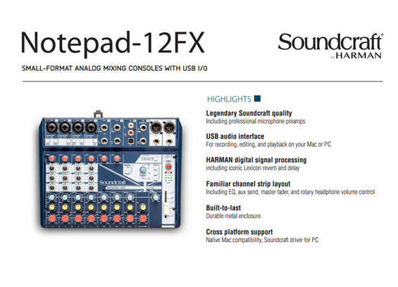 Mixer Audio Soundcraft Notepad