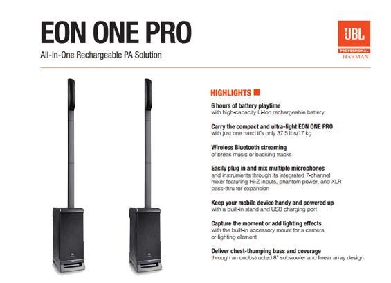 Paket Sound System Portabel JBL EON ONE PRO